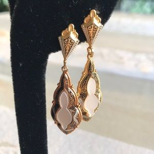 Damascene MOP dangle earrings